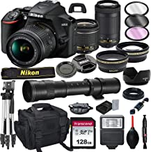 Nikon D3500 DSLR Camera with 18-55mm VR and 70-300mm Lens Bundle with 420-800mm Preset f/8 Telephoto Lens + 128GB Card, Tr...