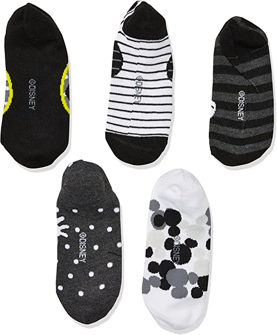 Disney womens Mickey Mouse 5 Pack No Show Socks Casual Sock