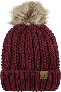 C.C Thick Cable Knit Faux Fuzzy Fur Pom Fleece Lined Skull Cap Cuff Beanie 9147177d041b