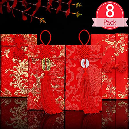 Silk Red Envelopes Chinese New Year 2020 Hong Bao Lucky Money Packets for Wedding Festival Birthday Exquisite Embroidery Red Elements