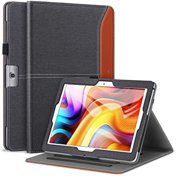 ZtotopCase PU Leather Multi-Angle Viewing Cover Compatible Dragon Touch K10 / Notepad K10 / Max10 Tablet, Lectrus 10.1, Victbing 10, Hoozo 10, Winsing 10, ZONKO 10.1 Android Tablet- CanvaBlack