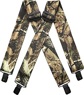 MENDENG Men's Camouflage Clip-End Suspenders Strong Clips Heavy Duty Braces