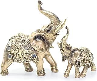 Set of 2 Feng Shui Brass Color Elegant Elephant Trunk Statue Wealth Lucky Figurine Home Decor Gift US Seller