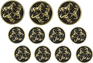 Bezelry Celtic Horses Metal Shank Buttons. Blazer Button Set. 3 Pcs of 25mm, 8 Pcs of 18mm (Antique Brass)