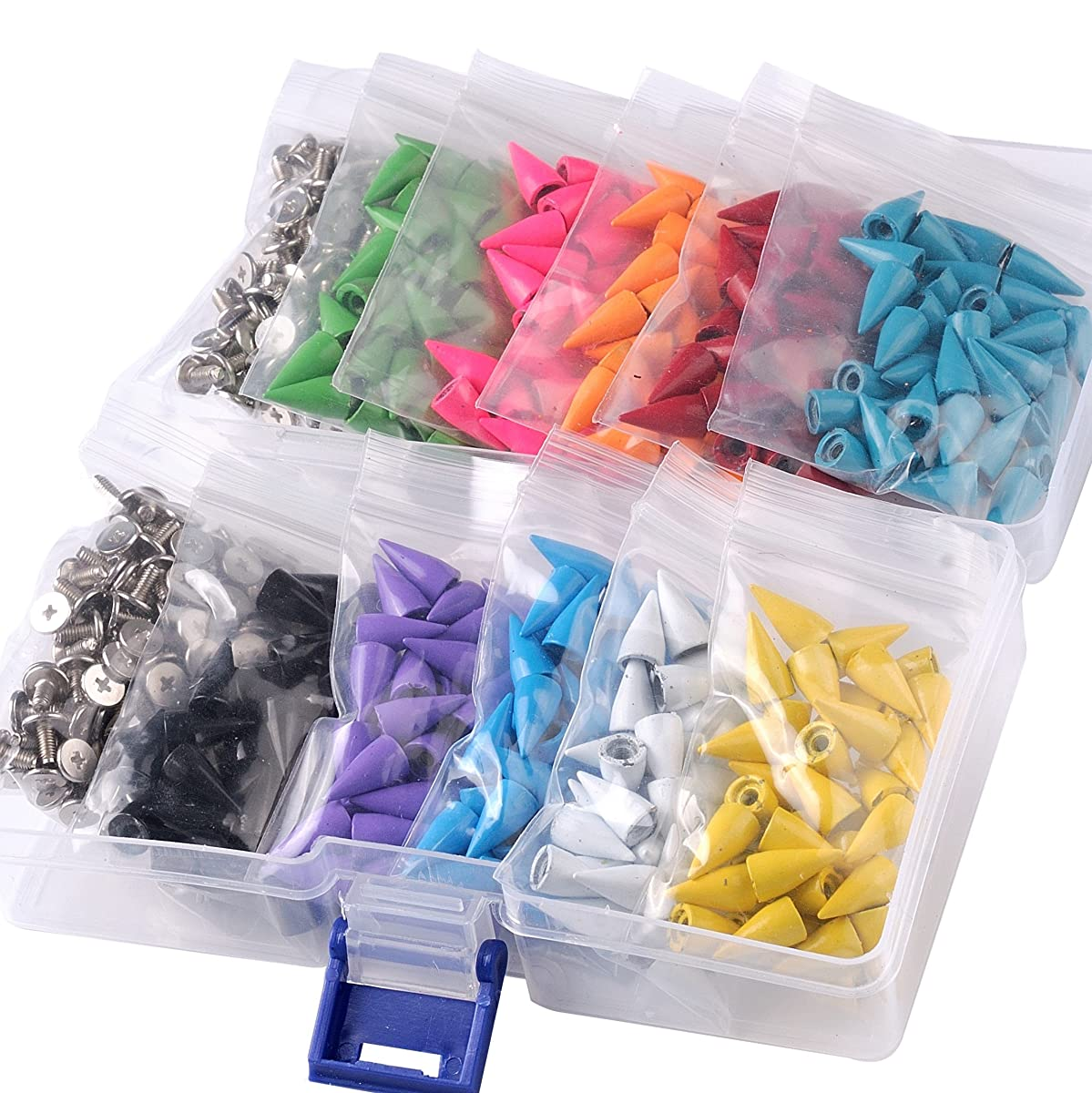 400pcs Mixed Colors Cone Spikes Screwback Studs DIY Craft Cool Rivets Punk Stud Coincal 7x15mm 1/4