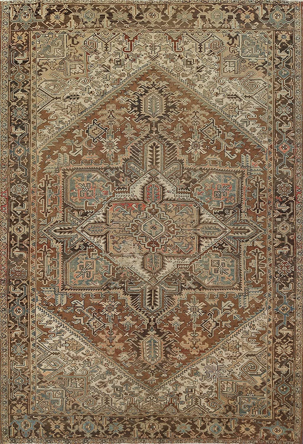 Reservation Brown Geometric All stores are sold Distressed Heriz Rug Area Oriental Hand-Knotted