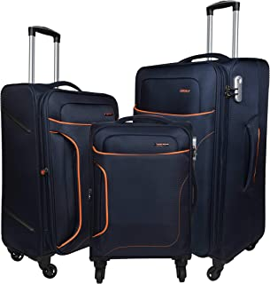 Murano Warrior Polyester Pack of 3 Navy Blue Luggage Combo Set for Men and Women (50 cm Cabin,60 cm Check-in Suitcase Trolley Bag,70 cm) Luggage Bag/Tourist Bag