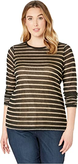 Plus Size Long Sleeve Striped Top