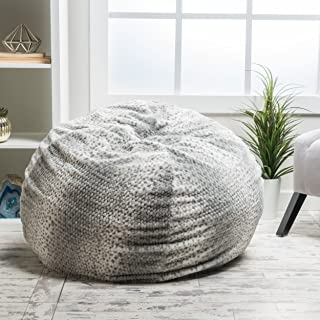 Heavy Metal Inc Meridian Bean Bag Plush Faux Fur Chair | Comfortable and Fun Beanbag for The Whole Family| Non-Spill Memory Foam Filling (Silver Dusk)
