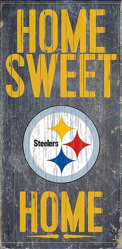 時制論理レビューFan Creations - Pittsburgh Steelers Wood Sign - Home Sweet Home 15cm x 30cm