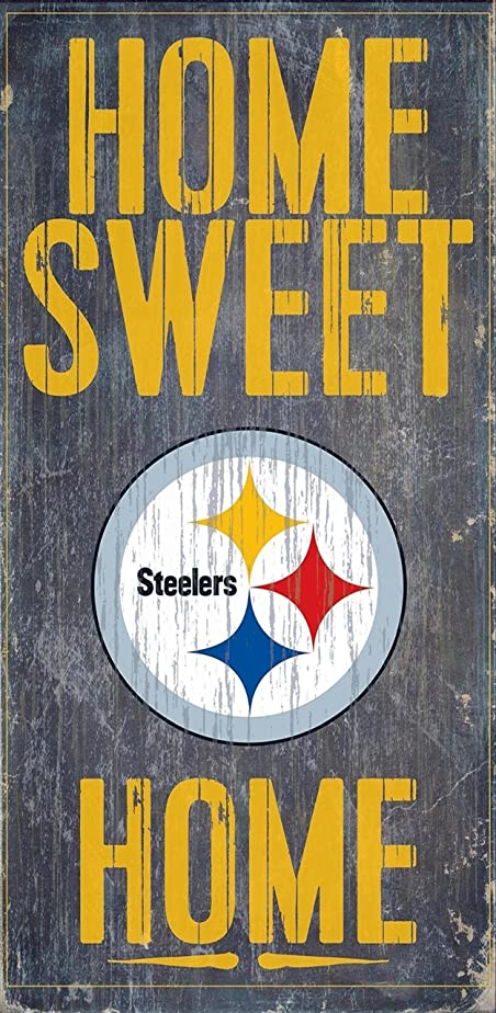 等しいキロメートル専らFan Creations - Pittsburgh Steelers Wood Sign - Home Sweet Home 15cm x 30cm