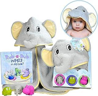 Baby Gift Set- Rub A Dub, Who's in My Tub? 5 Piece Bath Set Includes Elephant Hooded Towel, 3 Jungle Safari Squirt Toys, a...