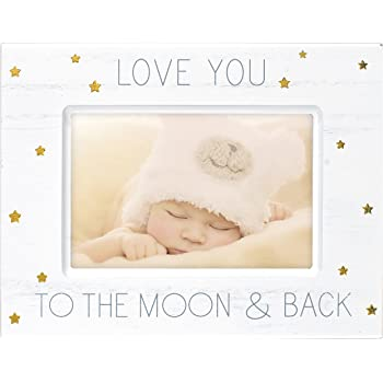 Malden International Designs Baby Memories Love You To Wood With Gold Foil Accents Picture Frame, 4x6, White