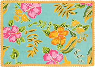 Indian Cotton Placemats for the Dining Room - Turquoise Pink Green Floral- Set of 6 Washable 13 x 19 Place Mats