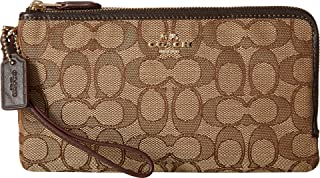 COACH Women's Signature Double Zip Wallet Li/Khaki/Brown One Size