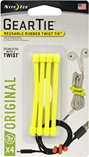 Nite Ize Original Gear Tie, Reusable Rubber Twist Tie, Made in the USA, 3-Inch, Neon Yellow, 4 Pack