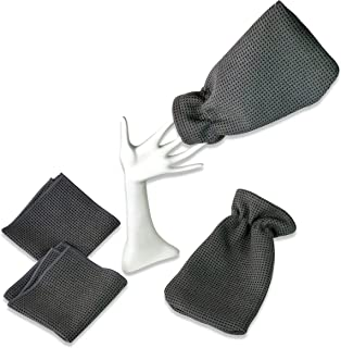 Waffle Microfiber Cleaning Towels and Hand Mitt Set - 2 Cleaning Towels - 2 Hand Mitts - Clean Without Soap - Cleans Kitchen - Bathroom - Car - Workroom - Scrubs Without Scratching