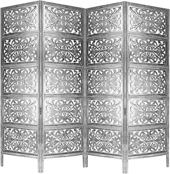 Cotton Craft Rajasthan Antique Silver 4 Panel Handcrafted Wood Room Divider Screen 72x80 Intricately Carved On Both Sides Reversible Hides Clutter Adds D Cor Divides The Room Silver White