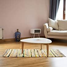 Relaxdays Rag Rug 70 x 140 cm with Fringes Made of Polyester and Cotton, Multi-Colour, Bath Mat, Yellow