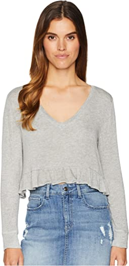 Short & Sweet Sweater Knit Cropped Ruffle Top