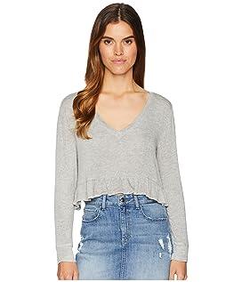 Short & Sweet Sweater Knit Cropped Ruffle Top