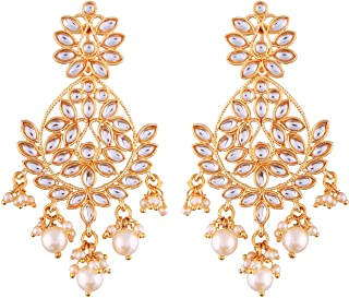 I Jewels 18K Gold Plated Traditional Kundan Earrings with Pearl Glided for Women (E2465-14)