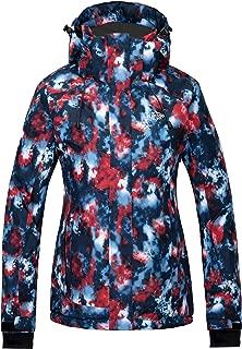 Women's Waterproof Ski Jacket Colorful Printed Rain Coat Winter Parka