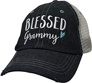 Blessed Grammy Embroidered Baseball Hat Mesh Trucker Style Hat Cap Mothers Day Pregnancy Announcement Dark Grey