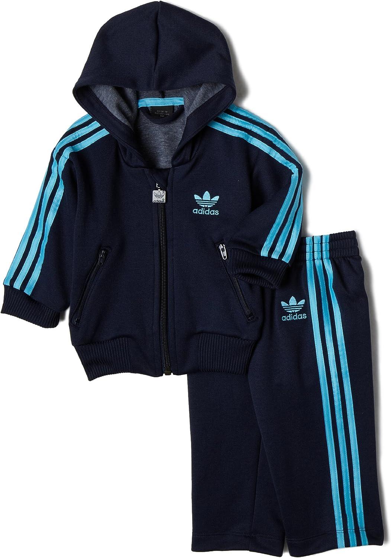 Adidas Adi Hooded Flock Tracksuit, Indigo/Light Aqua