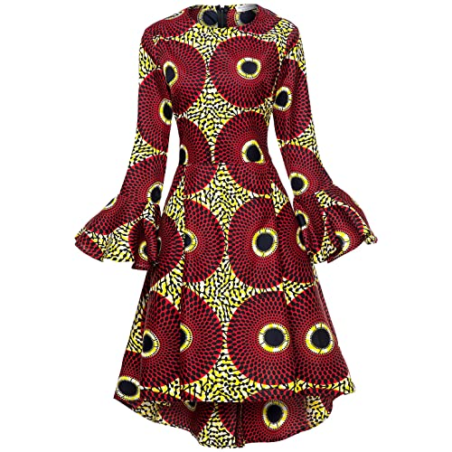 35ed5f3de4e9 Shenbolen Women African Print Dresses Autumn and Winter Long Sleeves Ankara  Dress