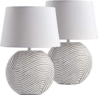 Brubaker Lot de 2 lampes de table ou de chevet Blanc Pieds en céramique bicolore mat Hauteur 38 cm