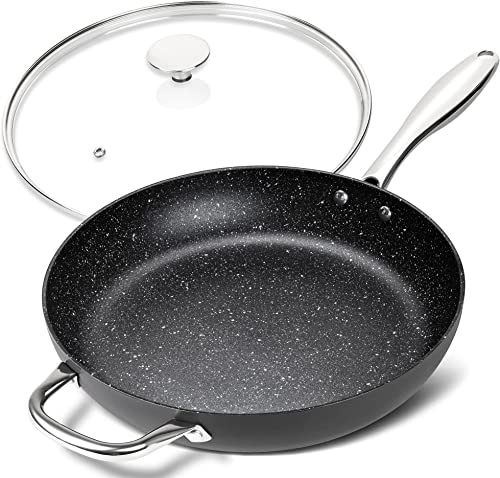 high quality MICHELANGELO 12 Inch Frying Pan with Lid, Hard Anodized Frying Pan, Frying Pans Nonstick with Lids, 12 Inch Skillets with Lid, Large Frying Pan Nonstick with Helper outlet sale Handle, Induction Frying Pans 12 discount In outlet online sale