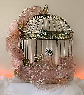 Wedding Birdcage Card Holder - Antique Green and Gold Shabby Chic Wedding Birdcage Card Holder - Wedding Gift Card Holder -