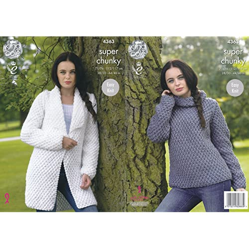 08cca01b7 King Cole Ladies Super Chunky Knitting Pattern Easy Knit Jacket   Polo Neck  Sweater (4363