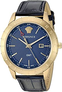Versace Men's Business Slim Quartz Watch with Leather Calfskin Strap, Blue, 21 (Model: VEBK00318)