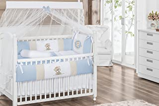 Royal Bear Theme Blue and Beige Baby Boy 7 Pcs Embroidered Nursery Crib Bedding Set Bumpers + Sheet Set + Changing Pad