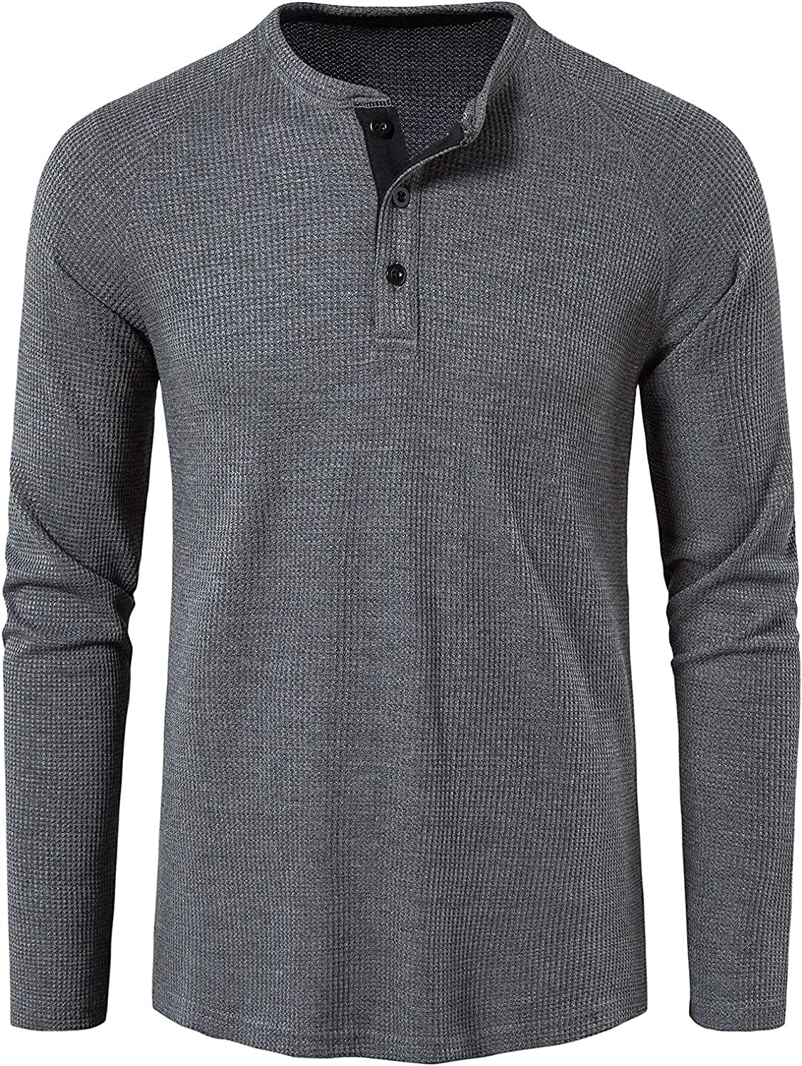 Mens Waffle Knit Henley At the price of surprise Ranking TOP6 T-Shirt Casual Fit Sleeve Slim Long Work