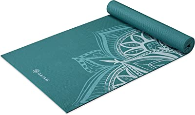 Gaiam Yoga Mat Premium Print Non Slip Exercise & Fitness Mat for All Types of Yoga, Pilates & Floor Workouts, Deep Frost Point, 5mm