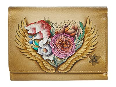 Anuschka 1138 RFID Blocking Small Flap French Wallet (Angel Wings) Handbags