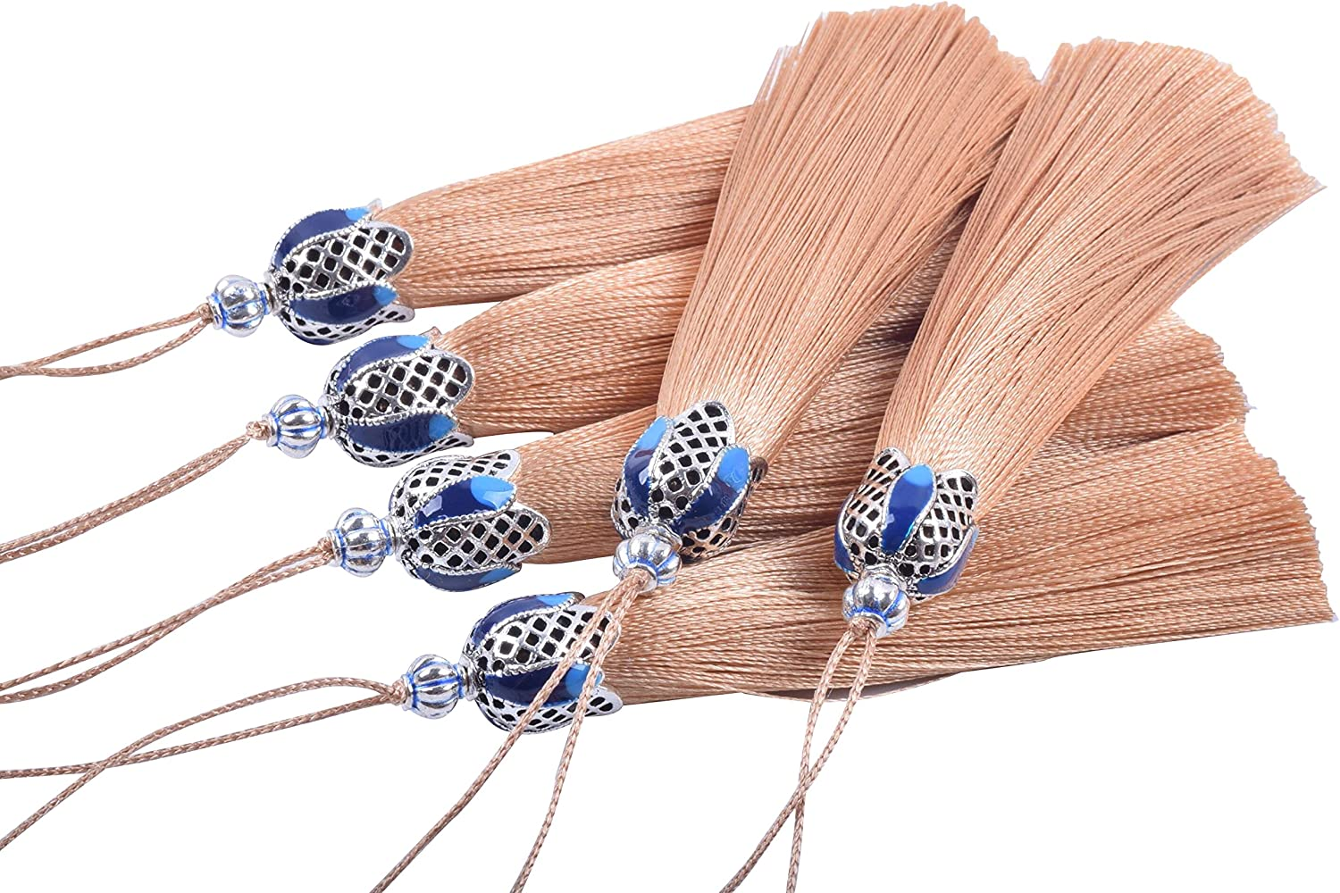 Craft Tassels with Hollowed Antique Silver Caps and Hanging Loops for Jewelry Making KONMAY 10PCS 8.5cm 3.4 Decorations Crafts Designs