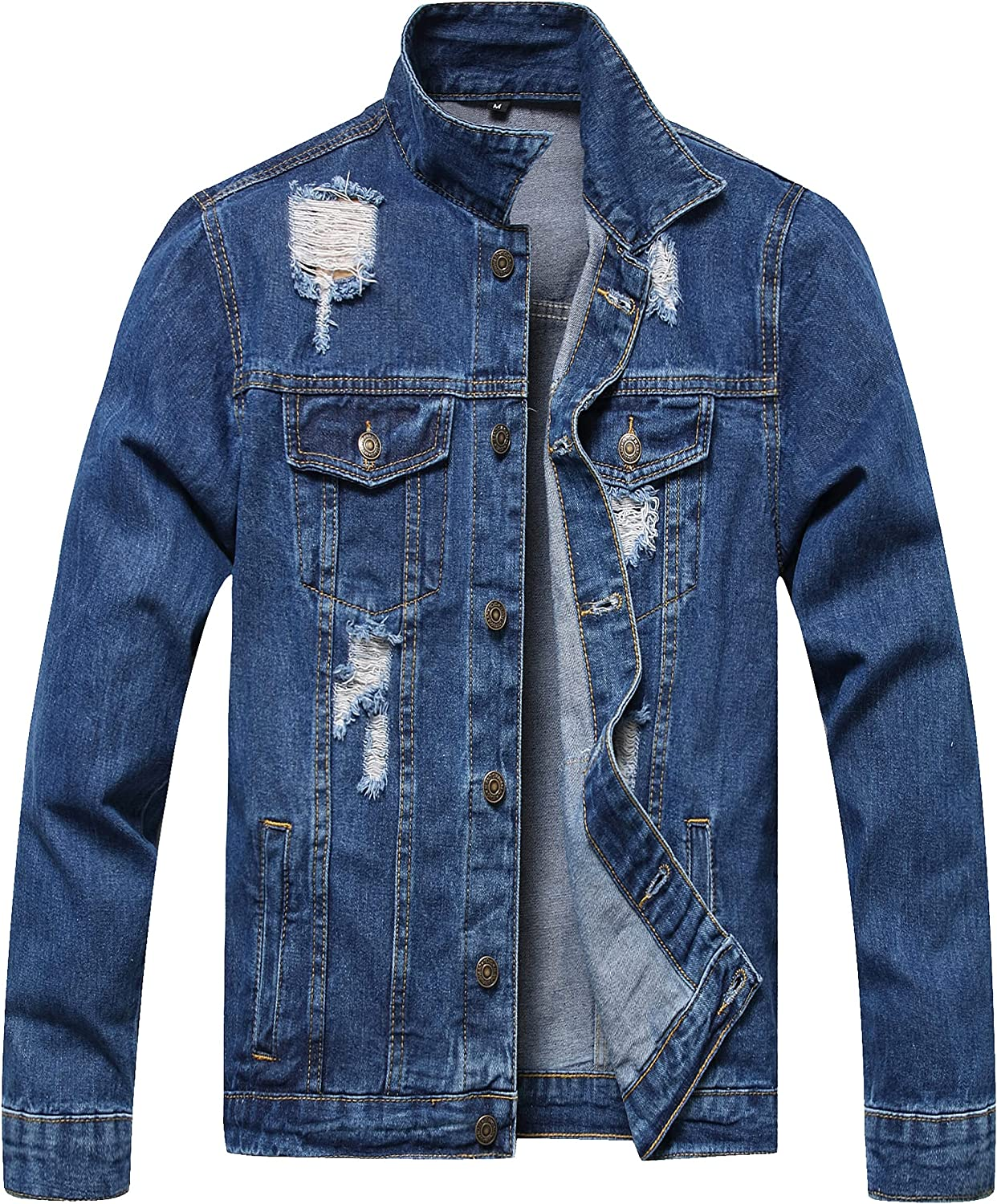 JCBYTJSW Distressed Ripped Denim Jacket Men's sold out New mail order Slim
