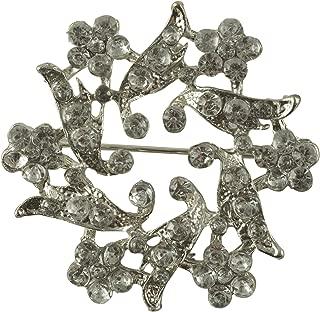 Crystal Rhinestone Pin in Silver Finish Metal (1.75