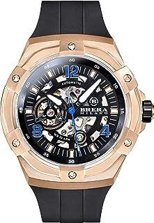 Brera Milano - Reloj de hombre Superdeportivo Evo de 45 mm, con caja de acero de oro rosa, esfera negra – bisel de oro rosa, correa de goma natural negro, deployant oro rosa, cód. Bmssas4502C