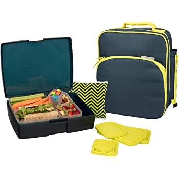 Bentology Lunch Bag and Box Set for Boys, 9 Pieces Total - Kids Insulated Lunchbox Tote, Bento Box, 5 Containers and Ice Pack - Midnight
