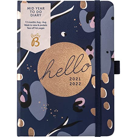 Busy B Mid-Year to Do Diary August 2021 - August 2022. Navy A6 Week to View Planner with Pen Holder, Elastic Closure and Storage Pockets 2021/22 Navy