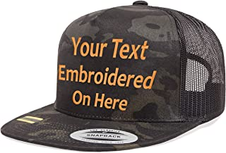 Custom Trucker Flatbill Hat. Yupoong. Embroidered. Your Text. Snapback (Multicam Black)