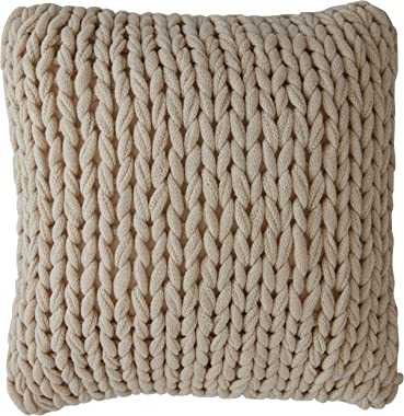 """Cheer Collection Chunky Cable Knit Throw Pillow, 18"""" x 18"""" Decorative Couch Pillow (Taupe)"""