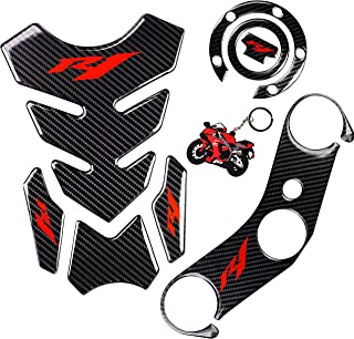REVSOSTAR 5D Real Carbon, Motorcycle Gas Tank Protector, Tank Pad Sticker, Tank Cap, Fuel Cap Decal, Top Clamp Triple Tree Pad with Keychain for Yzf R1, 4 Pcs Per Set