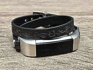 Black Vegan Leather Fitbit Alta HR Bracelet Handmade Double Wrap Embossed Flowers Design Adjustable Strap Fitbit Alta HR Band Stainless Steel Jewelry Women Fashion Fitbit Alta HR Wristband