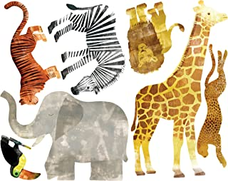 Wallies Vinyl Wall Decals, Peel and Stick Wild Safari Animal Wall Stickers, 7 Pc
